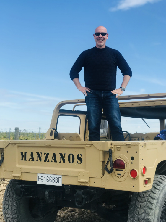 Wine Enthusiast Editor on a Hummer in the Winery